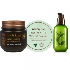 Innisfree Pore Reducer - deep cleanse clay mask + essence + sebum powder set