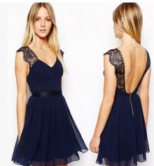 Lace V Back Dress Blue S
