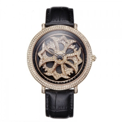 Davena Certified Swarovski Crystals Watch with Fortune Wheel Dial 30330 Black Silver