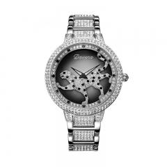 Davena Certified Swarovski Crystals Watch with Leopard Dial Silver 60089