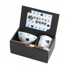 Tea Cup Rice Bowl and Chopsticks Set - Black Cat and Blue Polka Dot