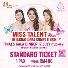 Standard Ticket 1 pax Miss Talent International Competition Malaysia