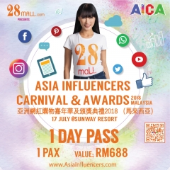 1 Day Pass Asia Influencers Carnival & Awards 2018 Malaysia 1 Pax
