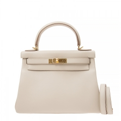 HERMES Handbag Kelly 28 8L Milky White Evercolor GP