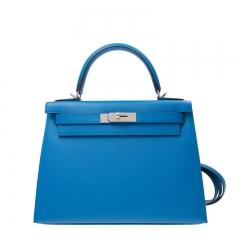 HERMES Handbag Kelly 28 B3 Blue Epsom SS