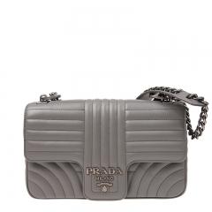NEW PRADA 1BD108 2D91 F0XJG Calfskin Grey Handbag
