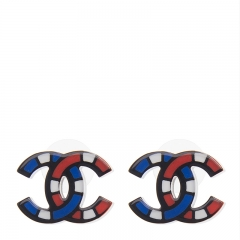 NEW CHANEL A58830 Plastic Blue/Red Earrings
